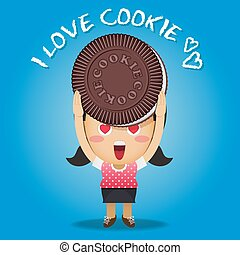 happy woman carrying big chocolate cookie