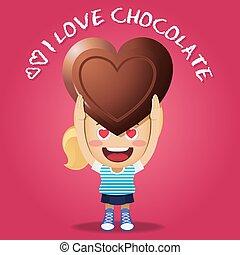 happy woman carrying big heart chocolate