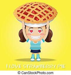 happy woman carrying big pie