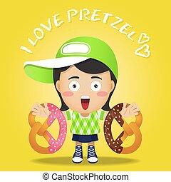 happy woman carrying big pretzel