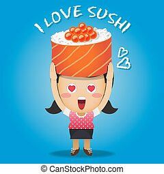 happy woman carrying big sushi roll