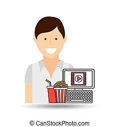 happy woman cartoon cinema online fast food