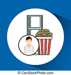 happy woman cartoon cinema pop corn