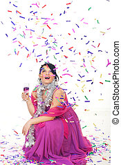 Happy woman celebrate new year party with champagne and...