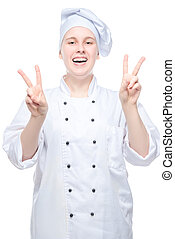 happy woman chef shooting on white background, gesturing with hands