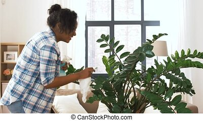 happy woman cleaning houseplant at home - people, housework...