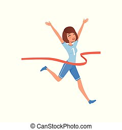 Happy woman crossing red finish tape. Young athletic girl taking part in running competition. Flat vector design