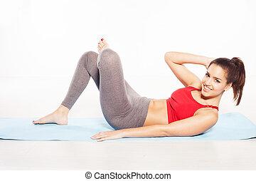 Happy woman doing aerobics
