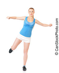 Happy woman doing fitness exercise