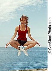 Happy woman doing fitness