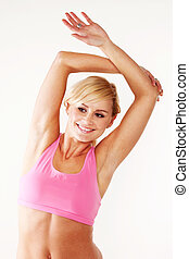 Happy woman doing her fitness exercises