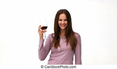 Happy woman drinking red wine
