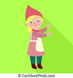 Happy woman dwarf icon, flat style