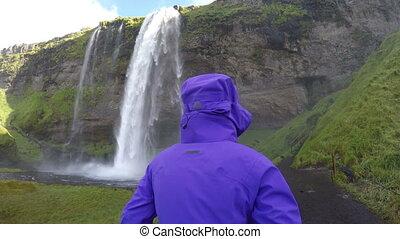 Happy Woman Enjoying Spectacular Waterfall Iceland - Happy ...