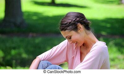 Happy woman enjoying the nature