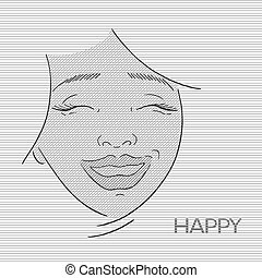 happy woman face lines