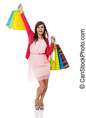 Happy woman from successful shopping