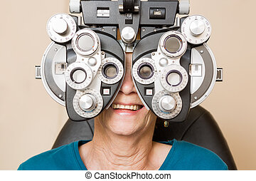 Happy Woman Having An Eye Test