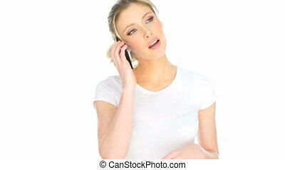 happy woman having mobile phone conversation