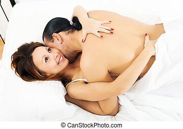 Happy woman having sex