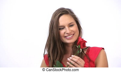 Happy woman holding a rose