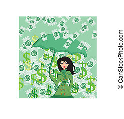 Happy woman holding an umbrella in a money rain