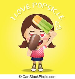 happy woman holding big popsicles