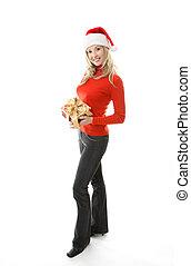 Happy Woman holding Christmas Present