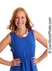 Happy woman in a blue dress