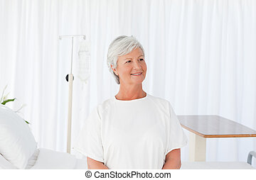 Happy woman in a hospital