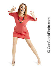 Happy woman in a red dress