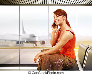 happy woman in airport