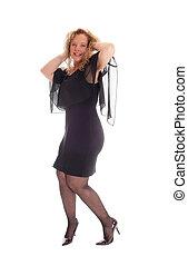 Happy woman in black dress.
