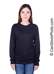 woman in black long sleeve t-shirt isolated on a white background