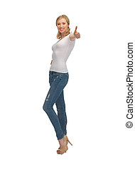 woman in blank white t-shirt with thumbs up