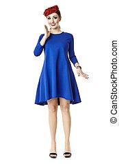 Happy Woman In Blue Dress