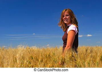 Happy Woman in Durum Wheat