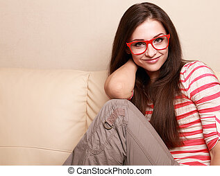 Happy woman in glasses looking with smile