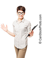 happy woman in glasses with a folder on a white background rejoices