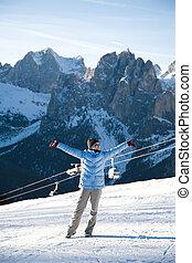 Happy Woman In Italian Alps Resort