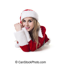 Happy Woman In Santa Costume