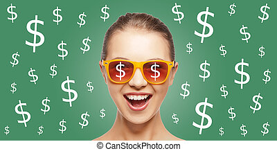 happy woman in shades with dollar currency sings - people,...