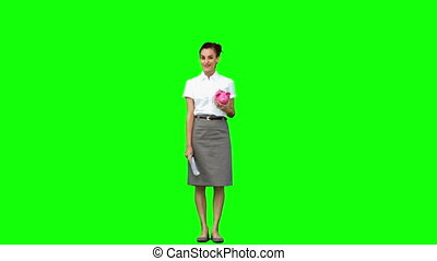 Happy woman in slow motion holding money