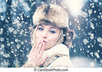 Happy Woman in Snow Winter Background with Love
