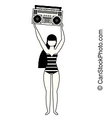happy woman in swimsuit with retro music player