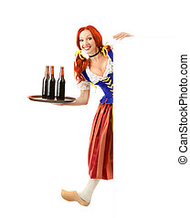 Happy Woman in Traditional Costume and a wooden shoe with three bottles of beer on a tray