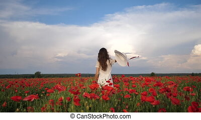 Happy Woman in white dress and hat on Poppy Flowers Field at summer, blue deep sky and clouds. Back view. Video footage Full HD