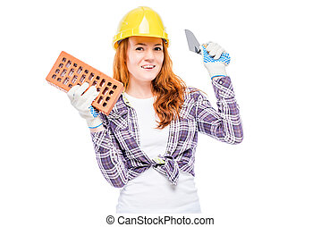 happy woman is a construction worker, portrait on a white background