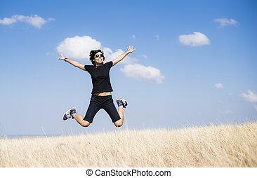 Happy woman jump