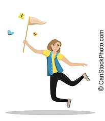 Happy woman jumping with a net in his hands. Girl catches butterflies. Summer fun. Isolated vector illustration.